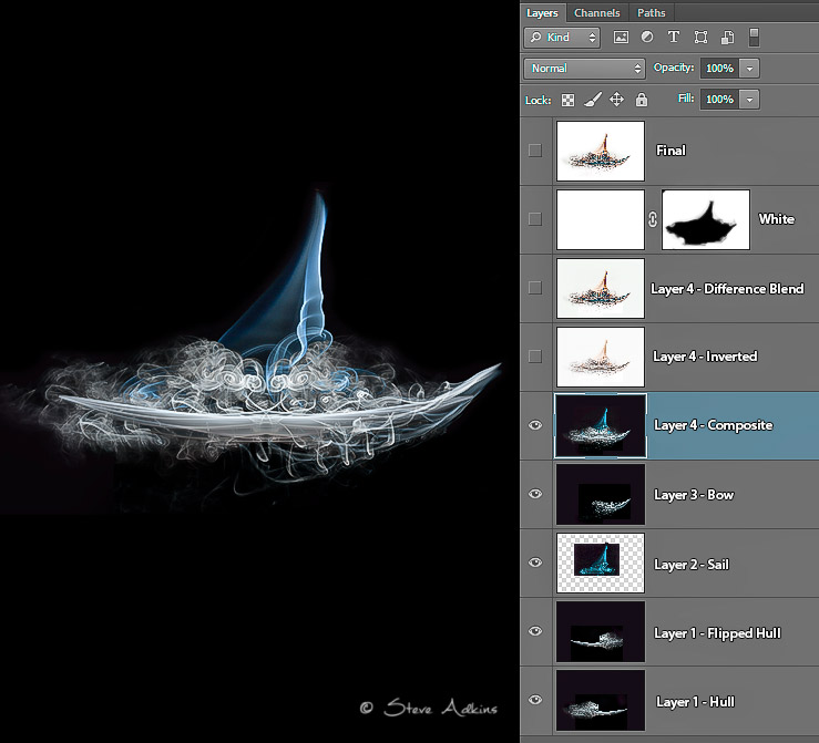 Smoke Boat Composite Photoshop Layers Palette