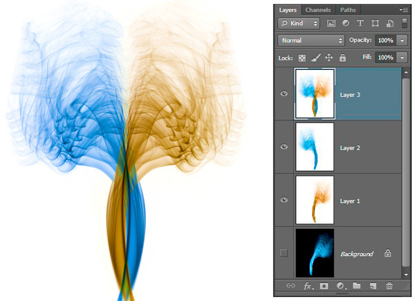 Photoshop Layers Palette used in Smoke Composite Image.