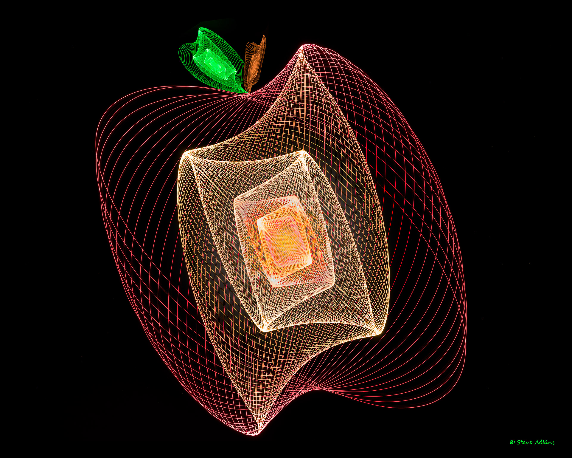 Physiogram light painting composite that looks like an apple.